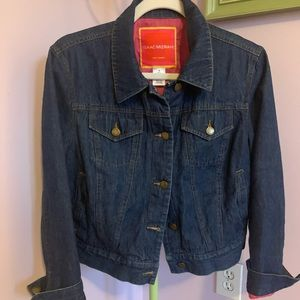 Denim Jacket with Buttons and Bright Pink Lining